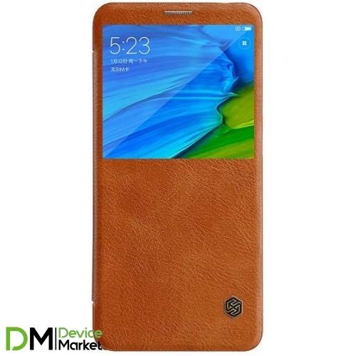 Кожаный чехол (книжка) Nillkin Qin Series для Xiaomi Redmi Note 5 Pro / Note 5 Brown
