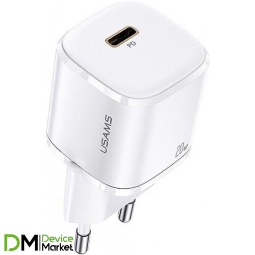 Сетевое зарядное устройство USAMS US-CC124 T36 20W Single Port Mini Fast Charger (EU) / white
