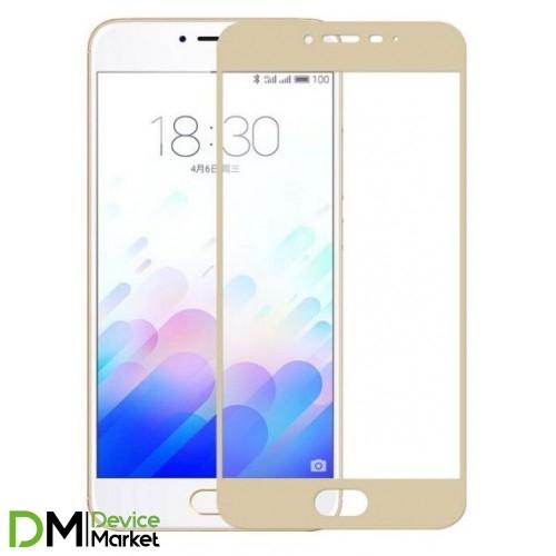 Защитное стекло Full Cover Meizu M5C Gold