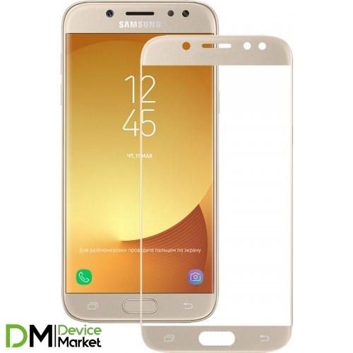 Защитное стекло 3D Samsung J7 2017 J730 Gold