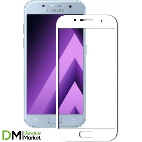 Защитное стекло 3D Samsung A7 2017 (A720) White