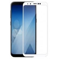 Защитное стекло 3D Samsung A8 2018 (A530) White